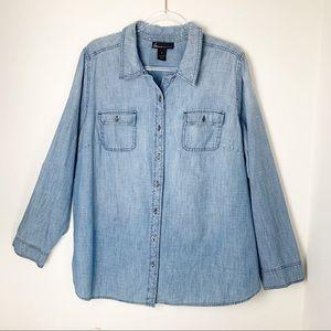 Lane Bryant Chambray Button Front Shirt Plus Size